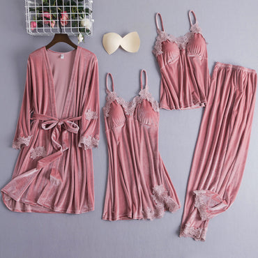 Velour Nightwear Robe V-Neck Pijamas Softy Gown Sleepwear