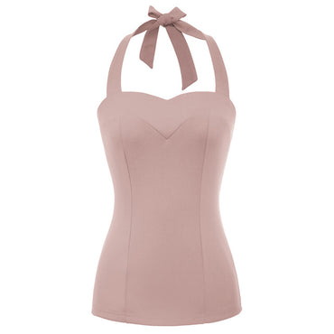 Solid Color Backless Halter Sweetheart Neck Tops