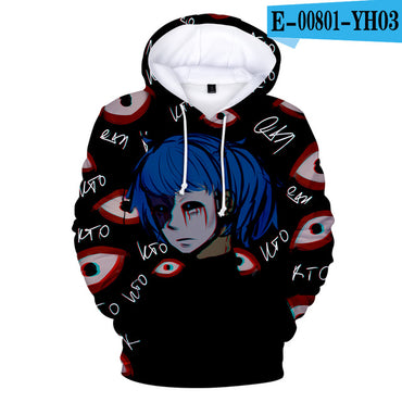 Kawaii  3D  pop Face Print Sweatshirt Long Sleeve Hoodies