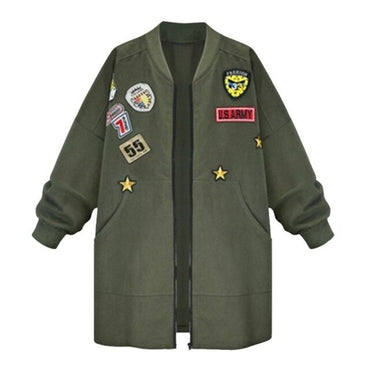 Slim Long Sleeve  Army Green Cartoon Jackets & Coats