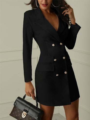 Double Breasted Button Long Sleeve Deep V-Neck Solid Slim Long Jackets & Coats