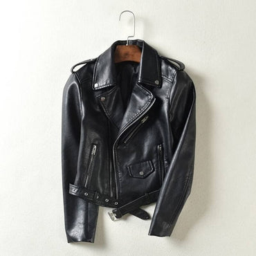Black Motorcycle Coat Turn-down Collar Biker Jackets & Coats