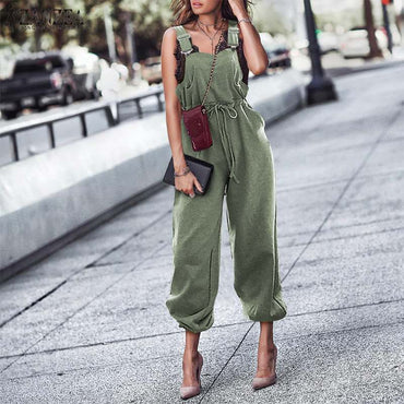 Casual Solid Long Pants Suspender Jumpsuit