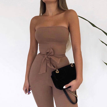 Casual Solid Color Knitted Crochet High Waist Lace-up Bow Pencil Jumpsuits