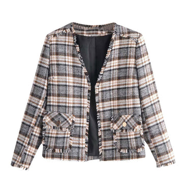 Casual Plaid Pockets Printed Long Sleeve Jackets & Coats
