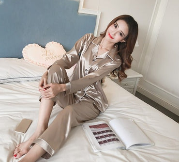 Long Sleeve Silk Sleepwear