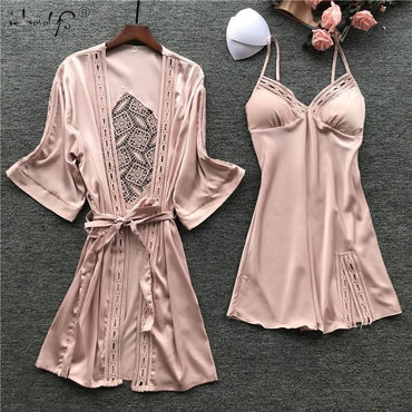 Silk Satin Robe Loungewear 2PC Sleepwear