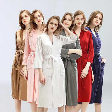 Thin Nightrobe Solid Toweling Terry Robe100% Cotton Robe Women Soft Ventilation Bath Robe Sleepwear