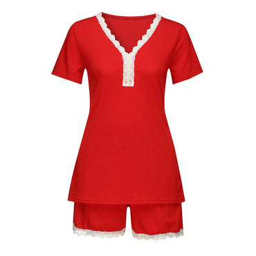 Lace Patchwork Short Sleeve V-Neck Sleepwear