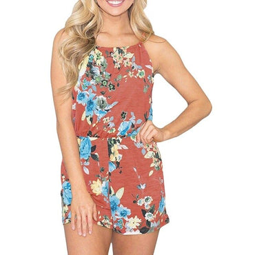 Party Flower print sleeveless Polyester V-neck Rompers