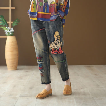 Vintage Loose Cartoon Embroidered Cotton Denim Jeans