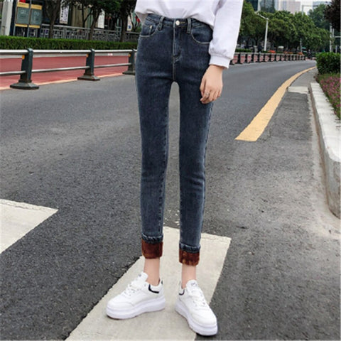 Warm Thicken Denim Pencil Pants Skinny Solid  Jean