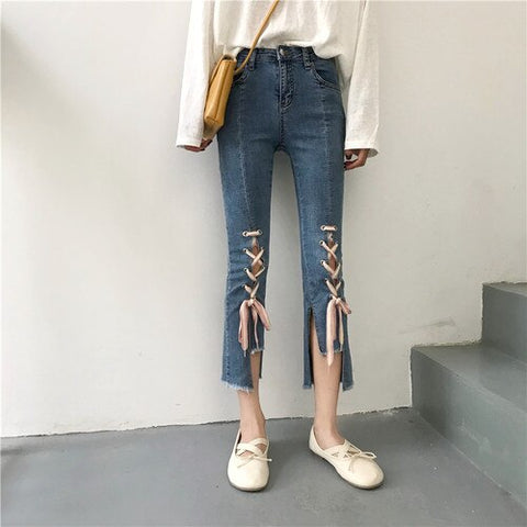 Simple All-match Elegant Korean Style Slim Trendy Jeans
