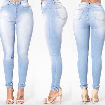 Casual Denim Pencil Pants Grinding White Elastic Skinny Stretch Jeans