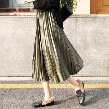 Elegant Midi Long Pleated Skirt
