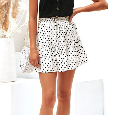 korean style Ruched Ruffles A-Line White Elastic Waist Short Mini Skirt