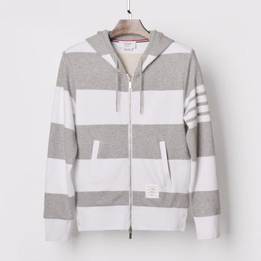 hooded contrast color jacket zipper striped sweatshirts Jackets & Coats