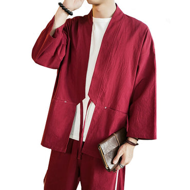 Long sleeve Chinese Style Shirts loose Solid kimono open stitch thin cotton Jackets & Coats