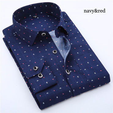 Long Sleeve Solid Floral Printing Plaid Dress Shirt
