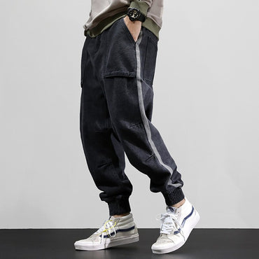 Black Gray Loose Stripe Designer Cargo Pants Harem Jeans