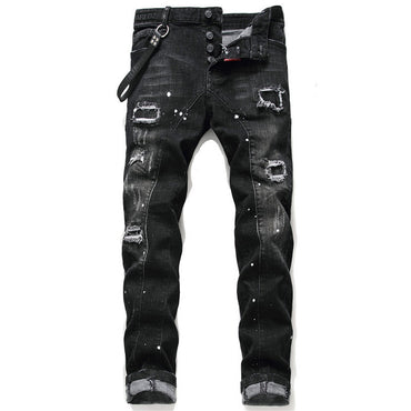 slim jeans pants top quality denim trousers zipper blue hole Pencil Pants jeans