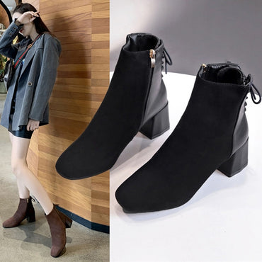 Brown Suede Leather Square Toe Block Heels Ankle Boots