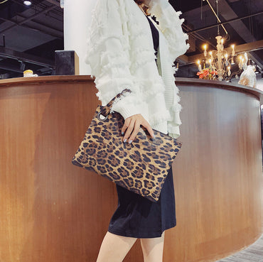 Texture Leopard Zebra Leather Clutch Bag Handbag