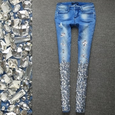 Embroidered Flares Skinny Stretch Denim Pencil Jeans