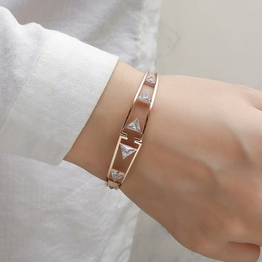 Stainless Steel Rose Gold Crystals Bracelets & Bangles
