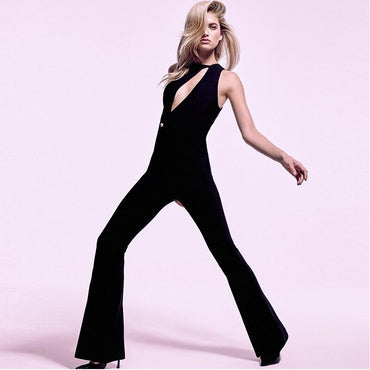 Black Sexy Hollow Out Jumpsuits