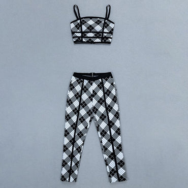 multicolor plaid spaghetti strap skinny ankle lenght pants clubwear Jumpsuits