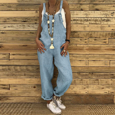 Casual Solid Strapy Dungarees Vintage Cotton Linen Loose Party Long Harem Overalls Jumpsuits
