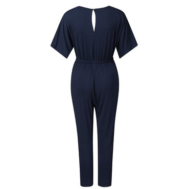 Short Sleeve Playsuit Long Pant Bodycon Solid Backless V Neck Party Jumpsuit