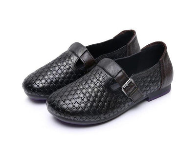 Vintage Handmade Shoes Loafers Genuine Leather  Flat Shoes