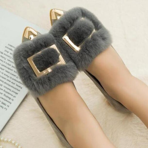 metal square buckle decoration shallow loafers rabbit hair ballet flat shoes