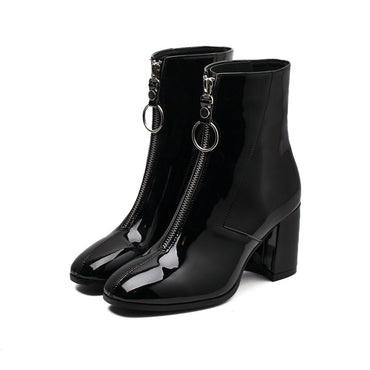 Mid-Calf  Thick High Heels Patent Leather Martin Boots