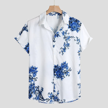 Simple Floral Print Loose Lump Chest Short Sleeve Shirts