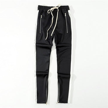 Side Stripe Biker Loose Trousers Higt Street Justin Biebe Long Pants