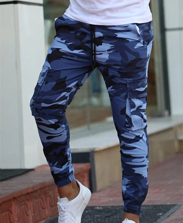Casual Streetwear Pockets Jogger blue Tactical Sweatpants