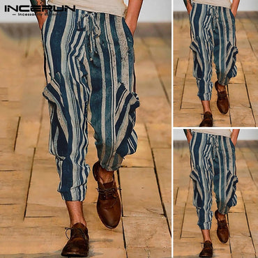 British Casual Chic Striped Harem Pants
