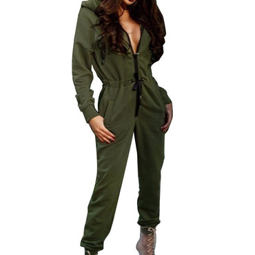 Casual Hoodies Long Playsuits Long Sleeve Solid Overalls Romper