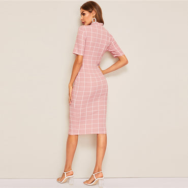 Mock-Neck Grid Textured Pencil Dress