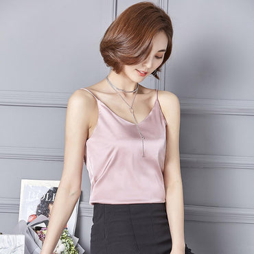 Sexy Silk Ladies Camisole Crop Bottom Top