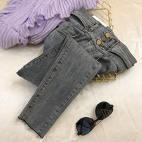Korean-Style Ins Temperament Slim-Fit High-Waist Three Button Jeans