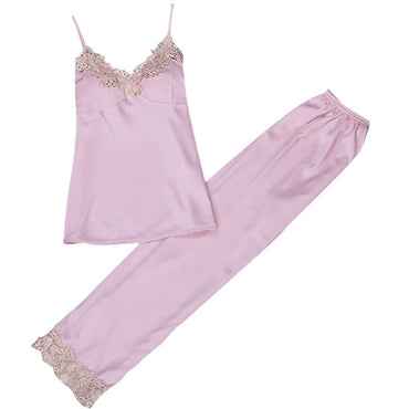 Spaghetti Strap Lace Sling Long Pants Sleepwear