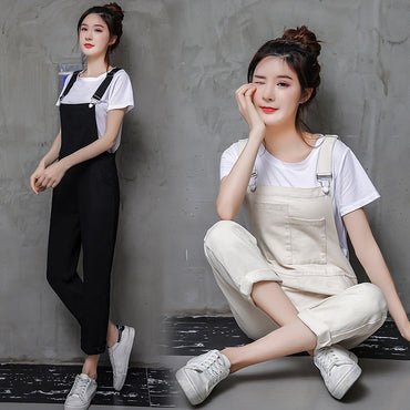 Loose Pockets Casual Straight Ankle-length Long Pants Black Beige Romper