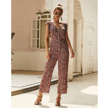 Deep V Neck Wide Leg Pants Short Sleeve Ruffle Romper