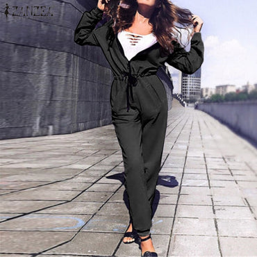 Hoodies Zipper Long Pants Jumpsuit Casual Long Sleeve Overalls Romper