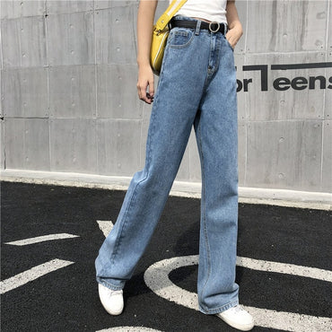 Loose High Waist Trendy Korean Style Simple All-match Casual Jeans