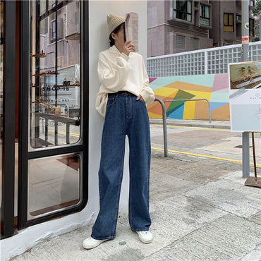 Korean Style Clothing Retro Chic High Waist Trendy Jeans